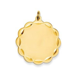 14k Yellow Gold Gauge Engravable Scalloped Disc Charm