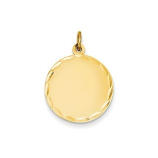 14k Yellow Gold Etched Gauge Engravable Round Disc Charm