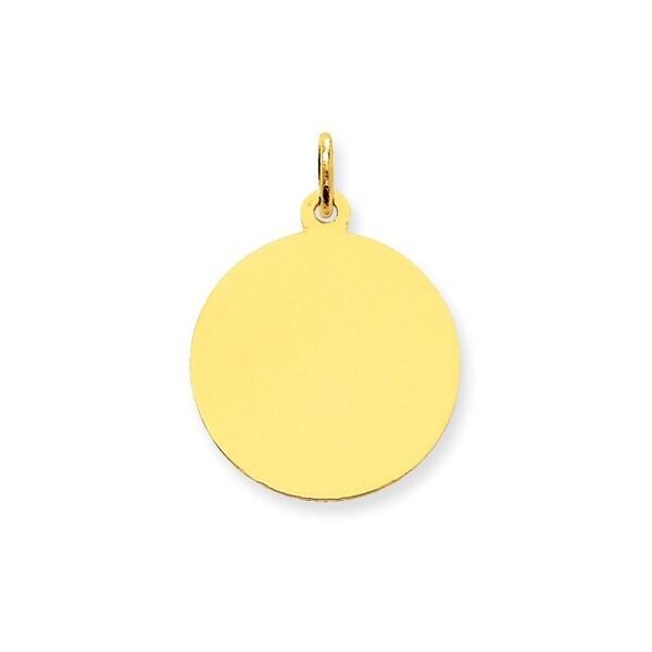 14k Plain .011 Gauge Engravable Round Disc Charm