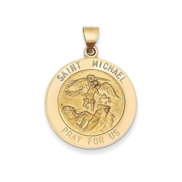 14k yellow gold polished and satin st michael medal pendant free 14k yellow gold polished and satin st michael medal pendant aloadofball Image collections