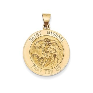 14k Yellow Gold Polished and Satin St. Michael Medal Pendant
