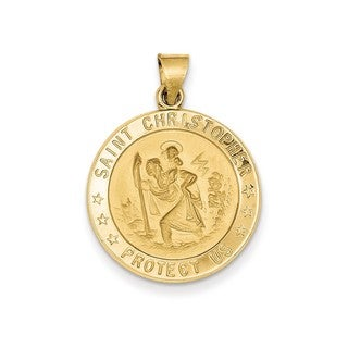 14k White or Yellow Gold Polished and Satin St. Christopher Medal Pendant