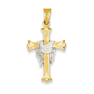 14k Rose and Yellow Gold or Yellow and White Gold Draped Cross Pendant