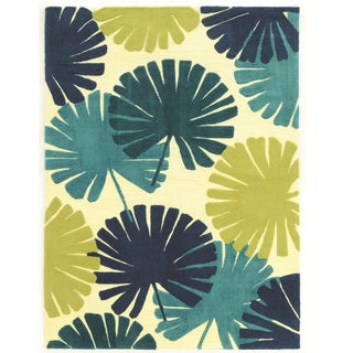 Hand Tufted Le Soliel Spring Blues/Green Polypropylene Outdoor Rug (8' X 10')
