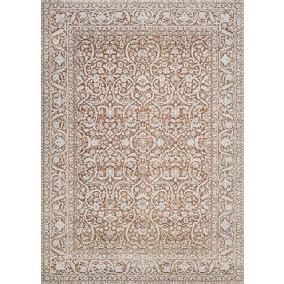 Couristan Patina Orange/Ivory-colored Courtron Polypropylene/Polyester Power-loomed Floral Rug (7'10 x 10'9)