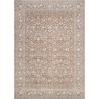 Couristan Patina Qum/Flower Pot Power-loomed Courtron Polypropylene/Polyester Blend Rug (5'3 x 7'6)