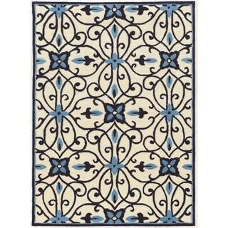 Hand Tufted TRIO Cream blue Polyester Rug (8' X 10')