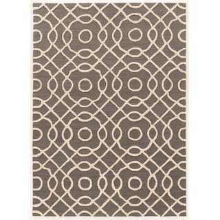 Hand Tufted TRIO Linked Grey Polyester Rug (8' X 10')