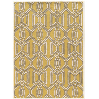 Hand Tufted TRIO Silo Yellow Polyester Rug (8' X 10')