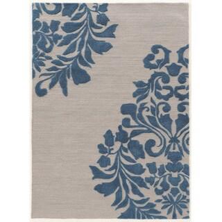Hand Tufted TRIO Medallion Grey Blue Polyester Rug (8' X 10')