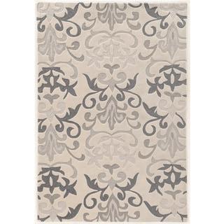 Hand Tufted TRIO Damask Grey Polyester Rug (8' X 10')