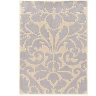 Hand Tufted TRIO Damask Ivory Grey Polyester Rug (8' X 10')