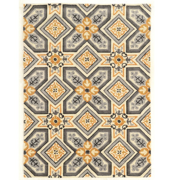 "Hand Tufted TRIO Mosaic Ivory Grey Polyester Rug (1'10"" X 2'10"") - 8' x 10'"
