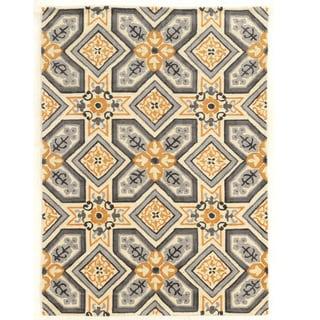 "Hand Tufted TRIO Mosaic Ivory Grey Polyester Rug (1'10"" X 2'10"")"