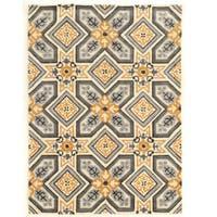 "Hand Tufted TRIO Mosaic Ivory Grey Polyester Rug (1'10"" X 2'10"") - 1'10"" x 2'10"""