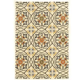 Hand Tufted TRIO Mosaic Ivory Grey Polyester Rug (8' X 10')