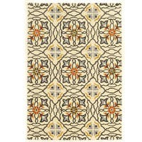 Hand Tufted TRIO Mosaic Ivory Grey Polyester Rug (8' X 10')