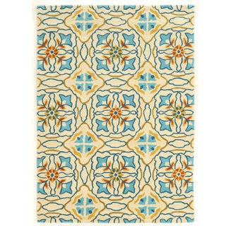 Hand Tufted TRIO Mosaic Ivory Blue Polyester Rug (8' X 10')