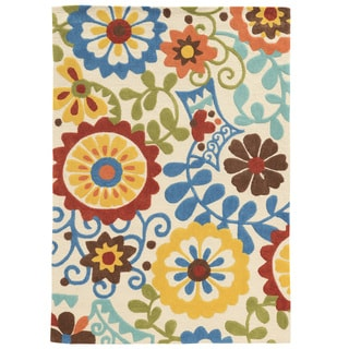 Hand Tufted TRIO iFrond Ivory Polyester Rug (8' X 10')