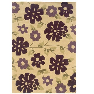 Hand Tufted Trio Collection Floral Purple Polyester Rug (8' X 10')