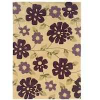 Hand Tufted Trio Collection Floral Purple Polyester Rug (8' X 10') - 8' x 10'