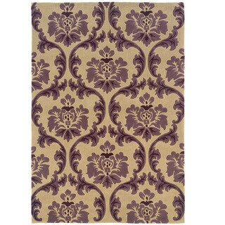 Hand Tufted Trio Collection Paper Purple Polyester Rug (8' X 10')