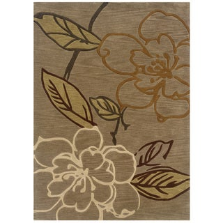 Hand Tufted Trio Collection Floral Sketch Moss Polyester Rug (5' X 7')
