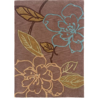Hand Tufted Trio Collection Space Dyed Floral Sketch Haze Green & Blue Polyester Rug (8' X 10')