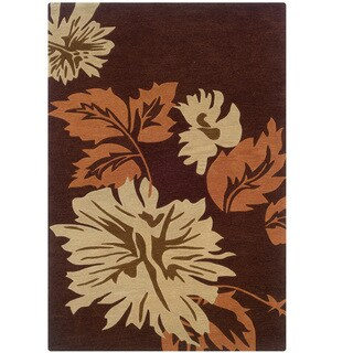 Hand Tufted Trio With A Twist Brown & Orange Polyester Rug (8' X 10')