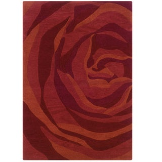 Hand Tufted Trio With A Twist Brick & Rust Polyester Rug (8' X 10')