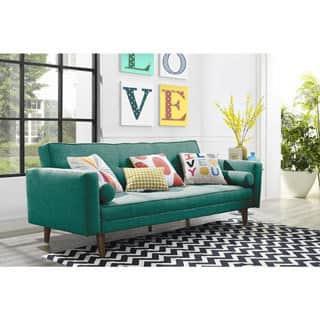 living room futon. Novogratz Mid Century Linen Futon Set Living Room Furniture For Less  Overstock com