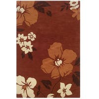 Hand Tufted Trio Floral Rust & Orange Polyester Rug (8' X 10')