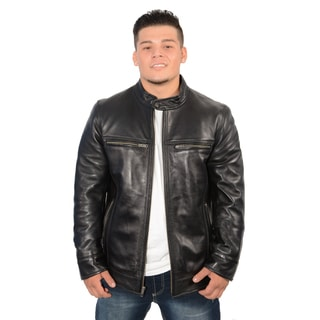 Men's Lambskin Leather Snap Collar Racer Jacket 2XL Size(As Is Item)