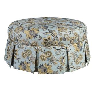 Ava Blue Wood/Fabric Round Pleated Ottoman