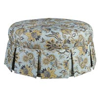 Ava Blue Wood/Fabric Round Pleated Ottoman in Chamberlain Spa