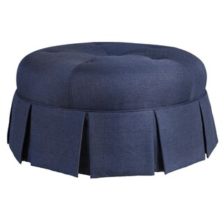 Ava Upholstered Round Pleated Ottoman in Urban Graphite
