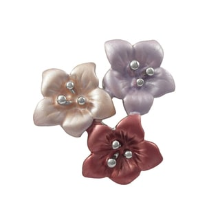 Luxiro Lavender and Pink Painted Flower Pin Brooch