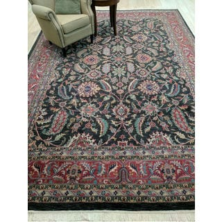 Hand-knotted Wool Black Traditional Oriental Kashan Rug (9'7 x 13'7)