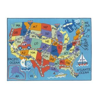 Kids' 'Map' Multicolored Fun Printed Rectangular Area Rug (5' x 7')