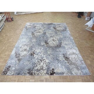 Hand Knotted Sky Blue Modern with Wool and Silk Oriental Rug (10'1 x 13'11)