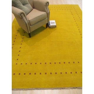 Handmade Wool Yellow Traditional Solid Lori Baft Rug (8' x 10')