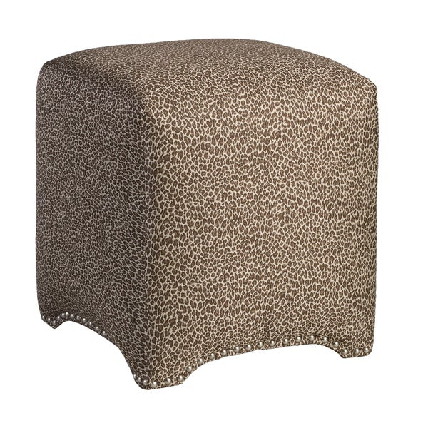 Emma Cube Wild One Chocolate Upholstered Nailhead Ottoman
