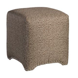 Emma Cube Wold One Chocolate Upholstered Nailhead Ottoman