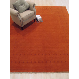 Handmade Wool Orange Traditional Solid Lori Baft Rug (8' x 10')