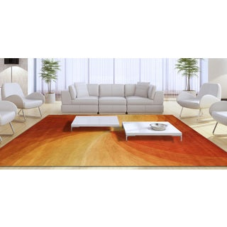 Hand-tufted Wool Orange Contemporary Abstract Swirl Rug (11'9 x 14'9)