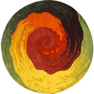 Hand-tufted Wool Contemporary Abstract Cowabunga Rug (4' Round) - 4' x 4'