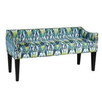 Whitney Icat Craz Blue Upholstered Long Wood Bench with Arms and Nailheads