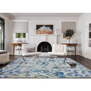 Antique Overdyed Pattern Power-loomed Blue/Grey/Yellow Polypropylene Area Rug (8' x 11')