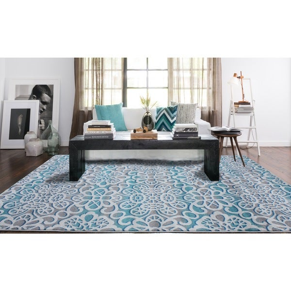 Modern Floral Blue and Grey Polypropylene Area Rug - 8' x 11'