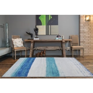 Fusion Blue/Grey Gradient-effect Area Rug (7'10 x 10'6)